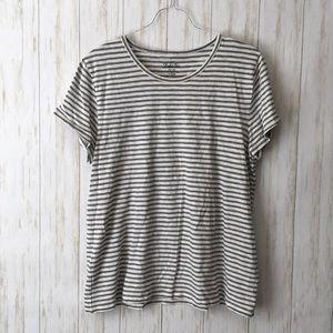 j. crew • Gray Striped Cotton Studio Tee T Shirt